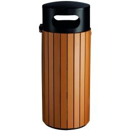 Poubelle ronde imitation lame bois sécurisée 60 litres