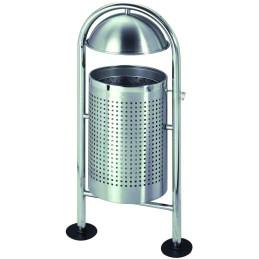 Corbeille ronde perforé sur 2 pieds à chapeau 30 litres