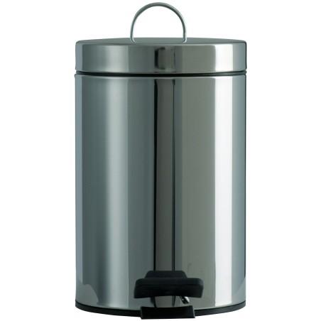 Petite poubelle ronde à pédale inox 3 litres