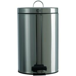 Petite poubelle ronde à pédale inox 12 litres