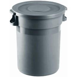Portoir rond plastique à couvercle gris 80 litres