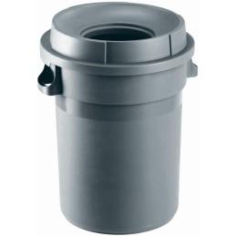 Portoir rond plastique à couvercle entonnoir gris 80 litres
