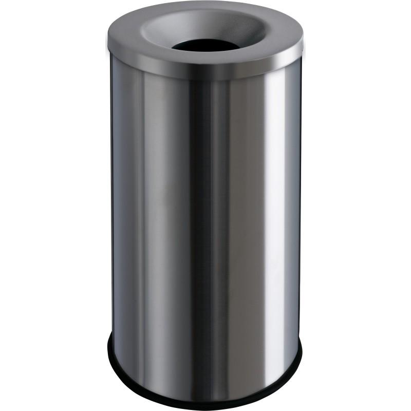 Corbeille anti-feu 30 litres inox brossé