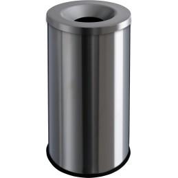 Corbeille anti-feu 50 litres inox brossé