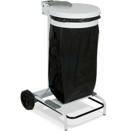 Support sacs-poubelle mobile acier 110 litres