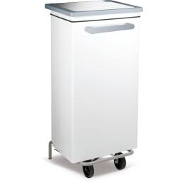 Conteneur caréné à pédale 100 litres acier peint blanc