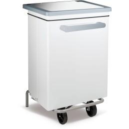 Conteneur caréné à pédale 70 litres acier peint blanc