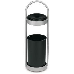 Corbeille à papier gris avec cendrier 18 litres