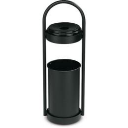 Corbeille à papier noir avec cendrier 18 litres