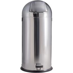 Poubelle dôme à pédale inox brillant 52 litres