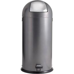 Poubelle dôme à pédale acier argent 52 litres