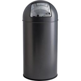 Poubelle dôme acier argent granuleux 40 litres