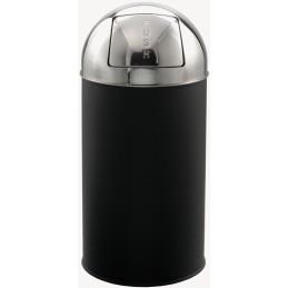 Poubelle dôme acier noir tête inox 40 litres