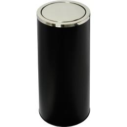 Poubelle à couvercle basculant acier noir 52 litres