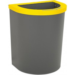 Corbeille Nice 65 litres couvercle ouvert et support de sac