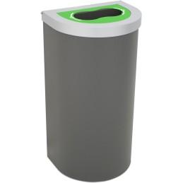 Corbeille Nice 95 litres couvercle recyclage bouteille et support de sac
