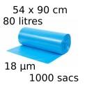 Sacs-poubelle 80L dim 54x90cmx18µm bleu