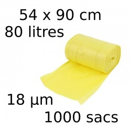 Sacs-poubelle 80L dim 54x90cmx18µm jaune