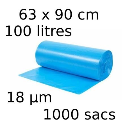 Sacs-poubelle 100L dim 63x90cmx18µm bleu