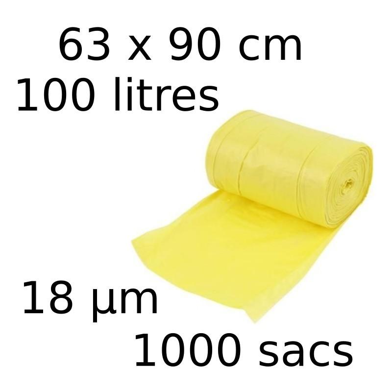 Sacs-poubelle 100L dim 63x90cmx18µm jaune