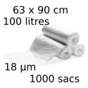 Sacs-poubelle 100L dim 63x90cmx18µm transparent