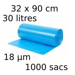 Sacs-poubelle 30L dim 32x90cmx18µm bleu
