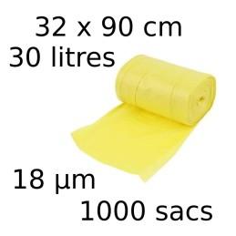 Sacs-poubelle 30L dim 32x90cmx18µm jaune