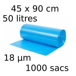 Sacs-poubelle 50L dim 45x90cmx18µm bleu