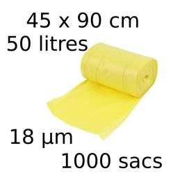 Sacs-poubelle 50L dim 45x90cmx18µm jaune