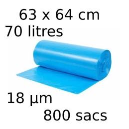 Sacs-poubelle 70L dim 63x64cmx18µm bleu