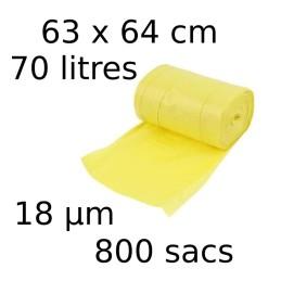 Sacs-poubelle 70L dim 63x64cmx18µm jaune