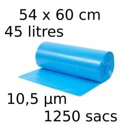 Sacs-poubelle 45L dim 54x60cmx10,5µm bleu