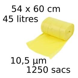 Sacs-poubelle 45L dim 54x60cmx10,5µm jaune