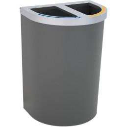 Corbeille Nice multi-flux 65 litres 2 zones de recyclage