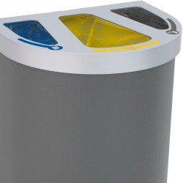 Corbeille Nice multi-flux 65 litres 3 zones de recyclage