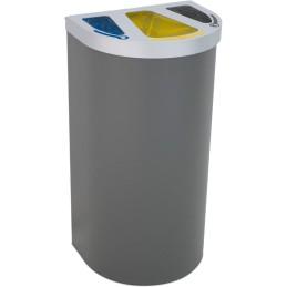 Corbeille Nice multi-flux 95 litres 3 zones de recyclage