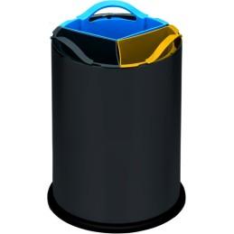 Corbeille 3 bacs tri-sélectif 12 litres acier noir