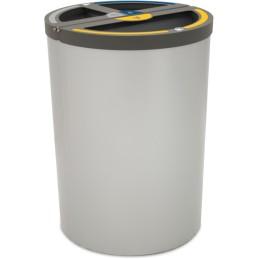 Poubelle Madrid ronde 3 flux 180 litres support de sac