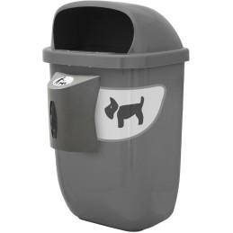 Corbeille canine grise 50 litres avec distributeur de sac