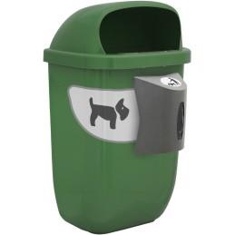 Corbeille canine verte 50 litres avec distributeur de sac