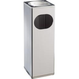 Cendrier poubelle carré 15 litres inox brillant