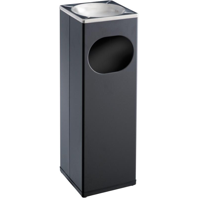 cendrier poubelle carr 15 litres acier noir. Black Bedroom Furniture Sets. Home Design Ideas