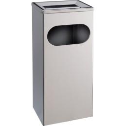 Cendrier poubelle rectangulaire 27 litres inox brillant