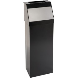 Poubelle à trappe avec cendrier «push» noir 50 litres