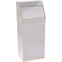 Poubelle à trappe «push» inox brillant 50 litres