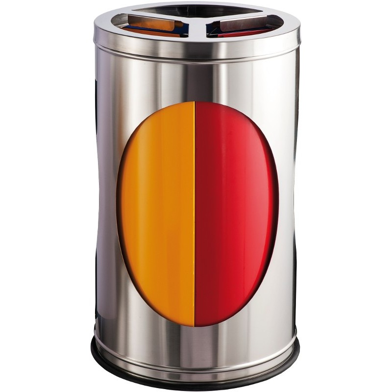 poubelle tri slectif 3 bacs de 35 litres inox - Poubelle Tri Selectif 3 Bacs