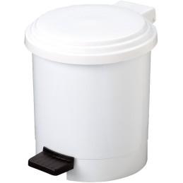 Poubelle ronde à pédale blanche 6 litres