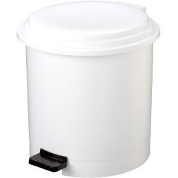 Poubelle ronde à pédale blanche 12 litres