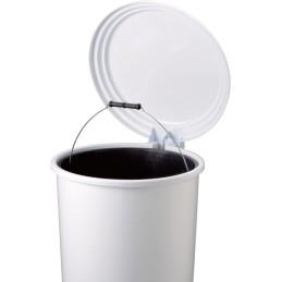 Poubelle ronde à pédale blanche 20 litres