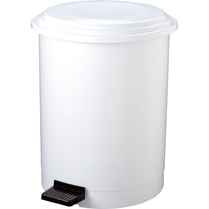 Poubelle ronde à pédale blanche 40 litres